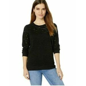 Lucky Brand Large Black Long Sleeve Lace Top 3Y36